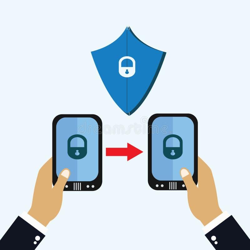 Vector del día de la protección de datos Mano con el teléfono móvil Asegure el ejemplo del vector del teléfono móvil Día importan libre illustration