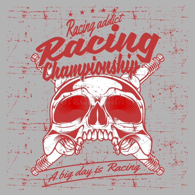 Vector del dibujo de la mano del campeón que compite con del cráneo y de la bujía del vintage del estilo del Grunge libre illustration