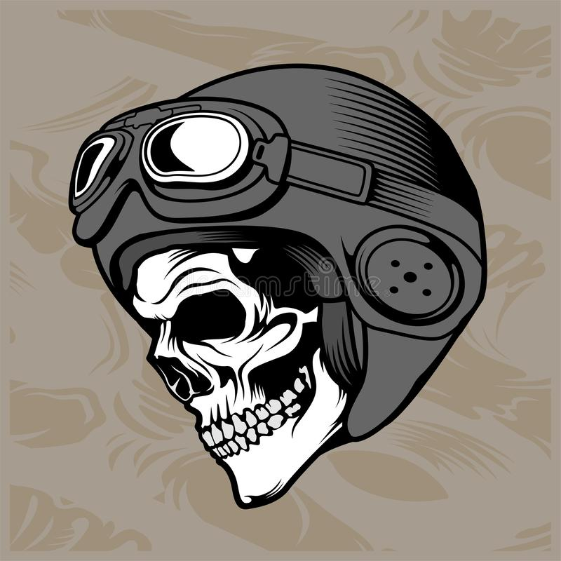 Vector del dibujo de la mano del casco del cráneo stock de ilustración