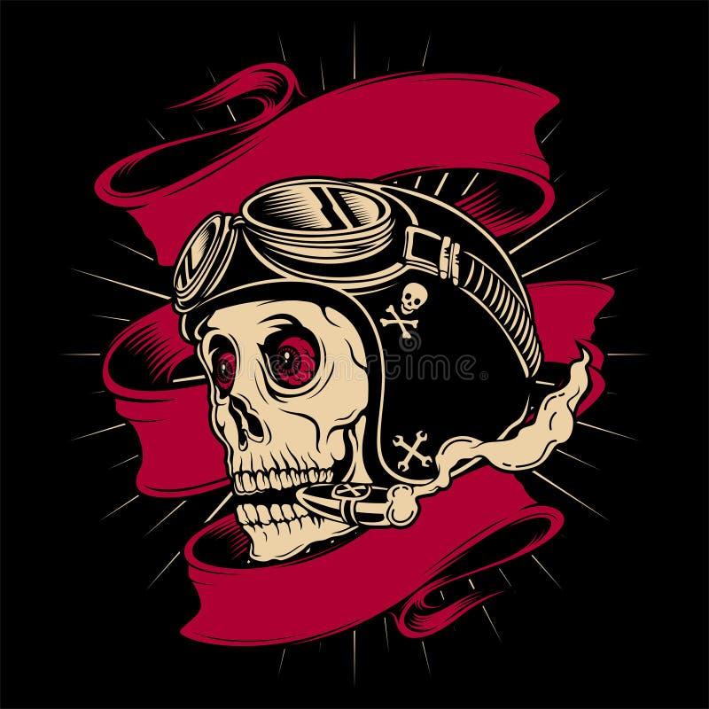 Vector del dibujo de la mano del casco del cráneo que lleva libre illustration