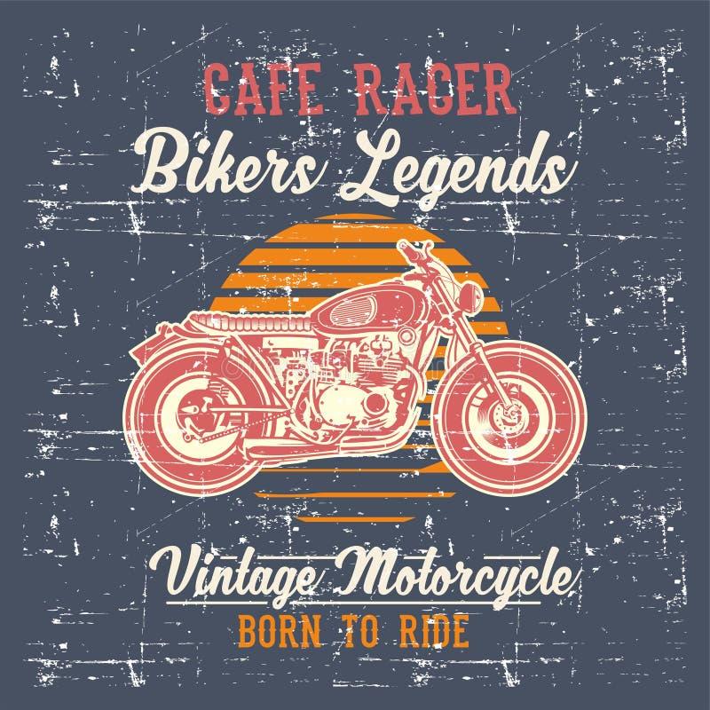 Vector del dibujo de la mano del corredor del café de la motocicleta del vintage del estilo del Grunge stock de ilustración