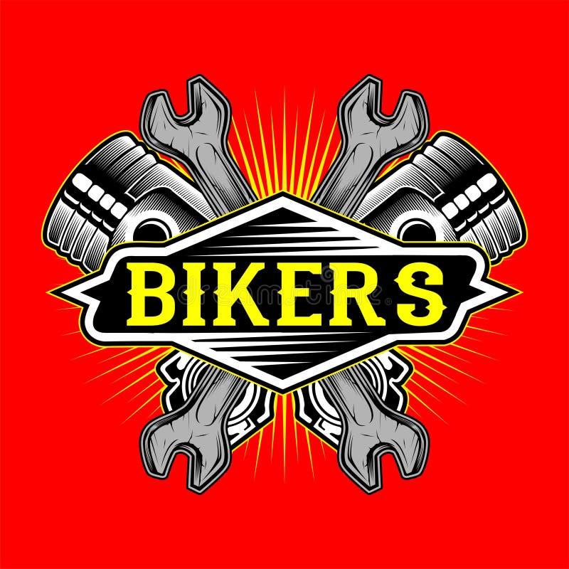 Vector del dibujo del pistón del logotipo de los motoristas del estilo del Grunge y de la mano de la llave stock de ilustración
