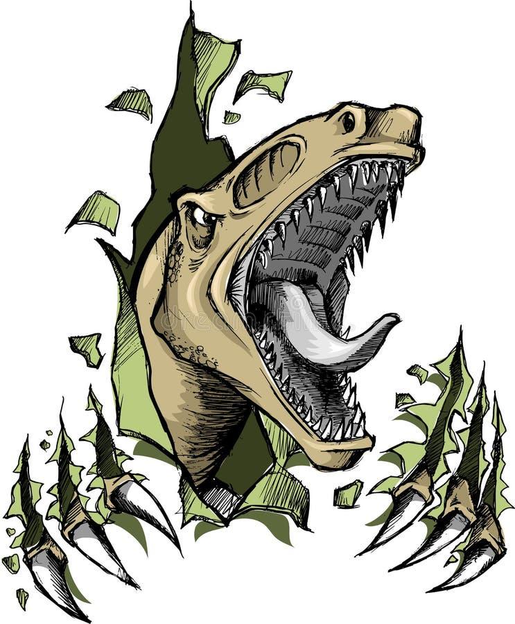 Vector del dinosaurio del rapaz stock de ilustración