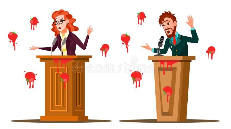 Vector del discurso del fall Hombre de negocios, mujer Mensajería fracasada, presentación Mala reacción Comer tomates de la muche ilustración del vector