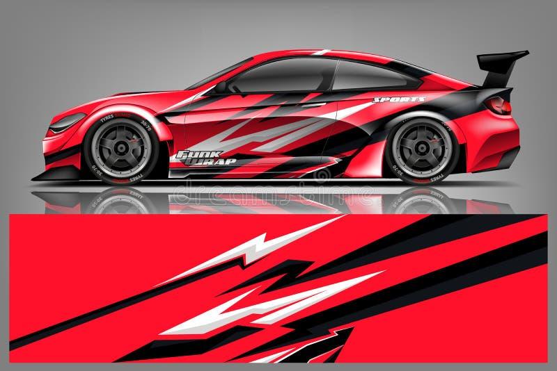 Vector del diseño del abrigo de la etiqueta del coche Diseños del equipo del fondo de la raya que compiten con abstracta gráfica  ilustración del vector