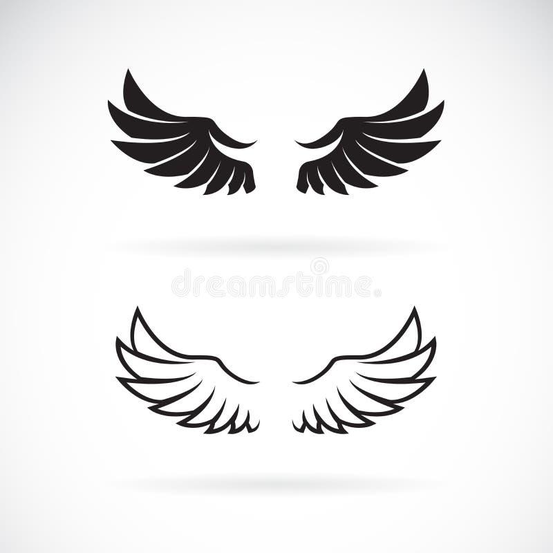 Vector del diseño del ala en el fondo blanco Icono o logotipo del ala Animal Ejemplo acodado editable f?cil del vector ilustración del vector
