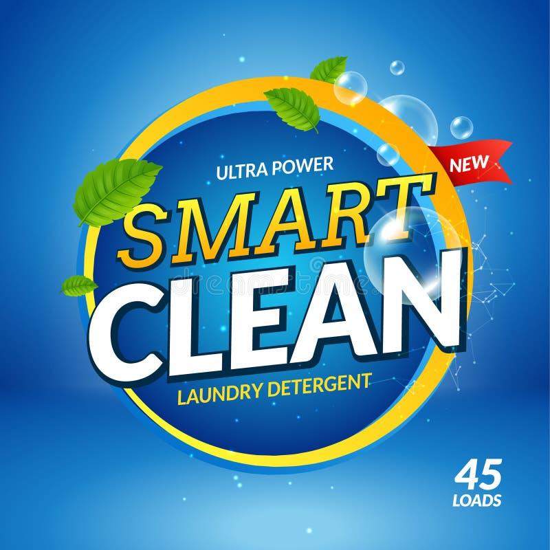 Vector del diseño del ckeanser de la bandera del detergente para ropa Publicidad de empaquetado de la plantilla del polvo colorid libre illustration