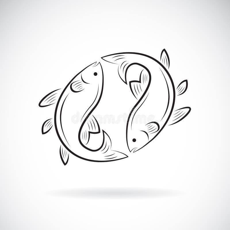 Vector del diseño de dos pescados en el fondo blanco Animal acu?tico Icono de los pescados Ejemplo acodado editable f?cil del vec ilustración del vector