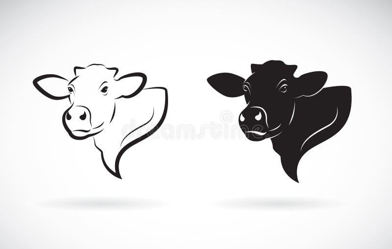 Vector del diseño de la cabeza de la vaca en el fondo blanco Granja stock de ilustración