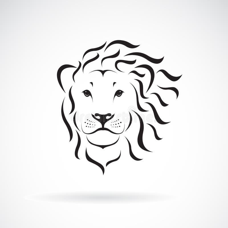 Vector del diseño de la cabeza del león en un fondo blanco Animales salvajes ilustración del vector