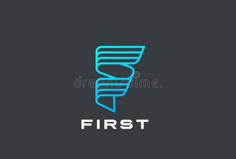Vector del diseño de la cinta del logotipo de la letra F linear Alta tecnología libre illustration