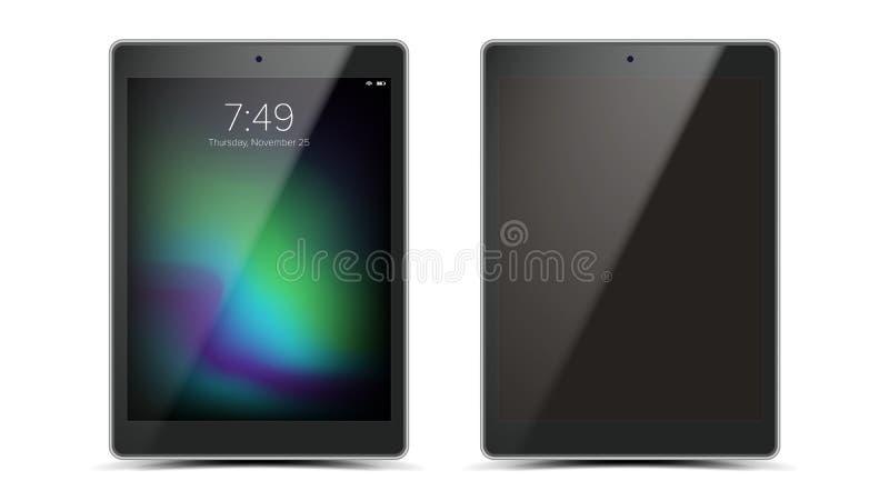 Vector del diseño de la maqueta de la tableta Ouch tableta de moda moderna negra Front View de la pantalla Aislado en el fondo bl stock de ilustración