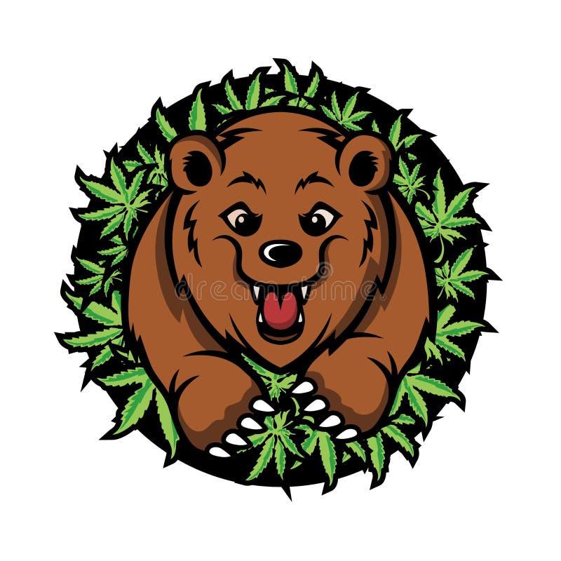 Vector del diseño de la mascota del cáñamo del oso fotos de archivo