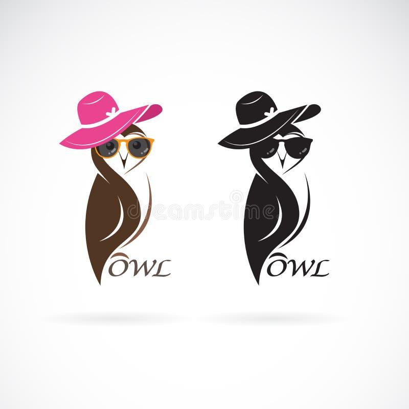 Vector del diseño de la moda del búho en el fondo blanco p?jaros Animales Búhos que llevan los sombreros y los vidrios hermosos , stock de ilustración