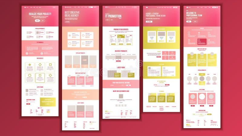Vector del diseño de la página web Realidad del negocio del sitio web Plantilla en línea del esquema del sitio que hace compras L ilustración del vector
