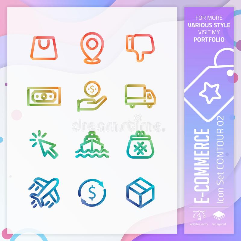 Vector del diseño de sistema del icono del negocio con el estilo colorido 3D Icono del comercio electrónico para el elemento de l ilustración del vector