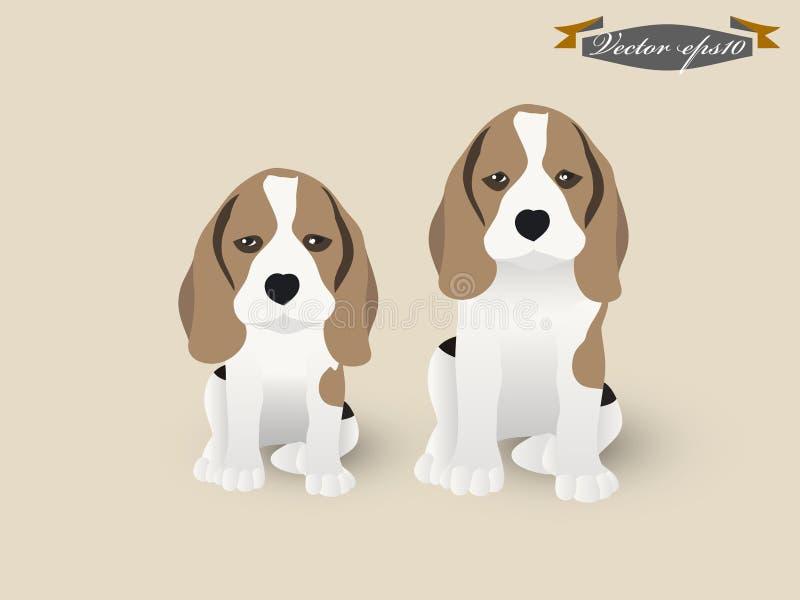 Vector del diseño del ejemplo del perro del beagle y de perrito del beagle libre illustration
