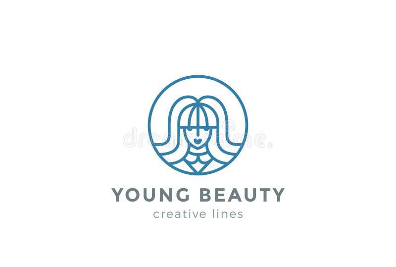 Vector del diseño del logotipo de la mujer del salón del peluquero de la belleza libre illustration