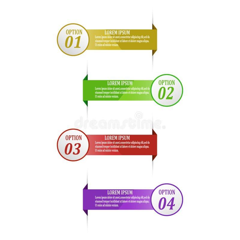 Vector del diseño del infographics de la cronología con 4 opciones stock de ilustración