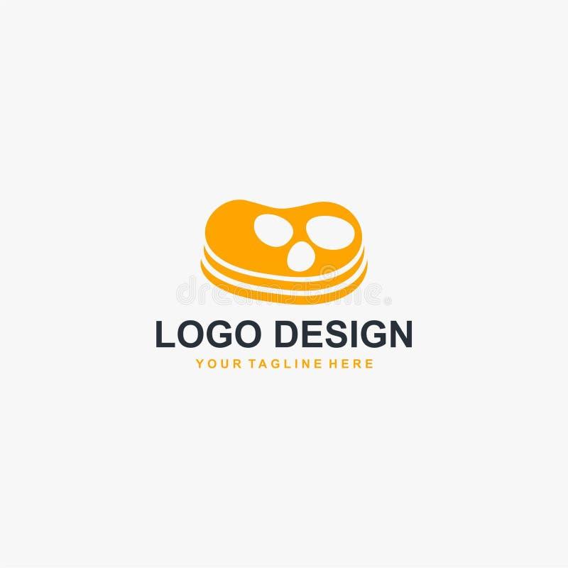 Vector del diseño del logotipo de la carne del filete Diseño del logotipo de la comida para el negocio de restaurante stock de ilustración