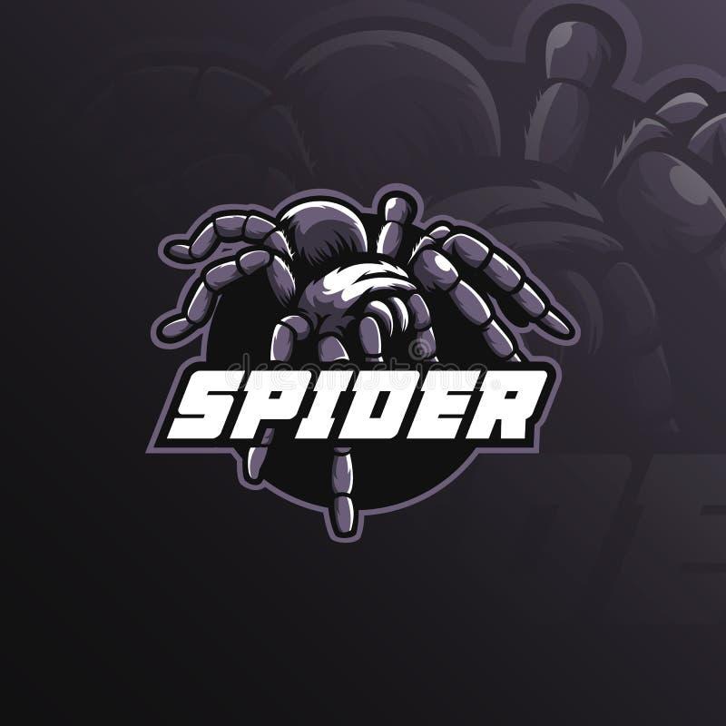 Vector del diseño del logotipo de la mascota de la araña con el estilo moderno del concepto del ejemplo para la impresión de la i libre illustration