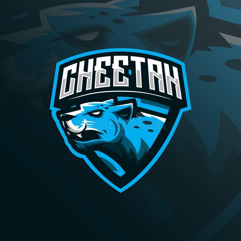 Vector del diseño del logotipo de la mascota del guepardo con el estilo moderno del concepto del ejemplo para la impresión de la  stock de ilustración