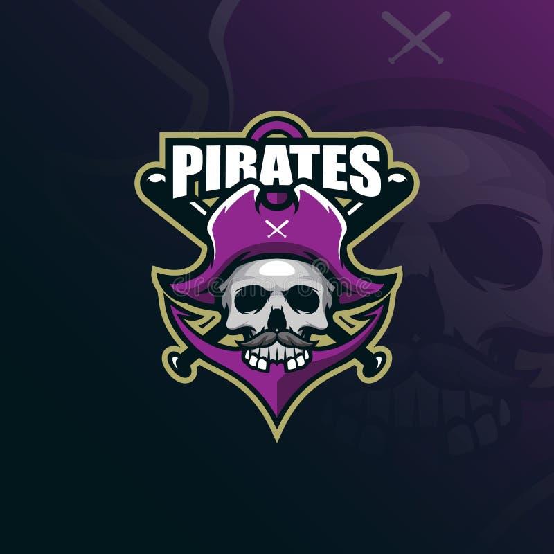 Vector del diseño del logotipo de la mascota de los piratas con el estilo moderno del concepto del ejemplo para la impresión de l ilustración del vector
