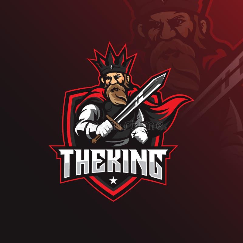 Vector del diseño del logotipo de la mascota del rey con el estilo moderno del concepto del ejemplo para la impresión de la insig ilustración del vector