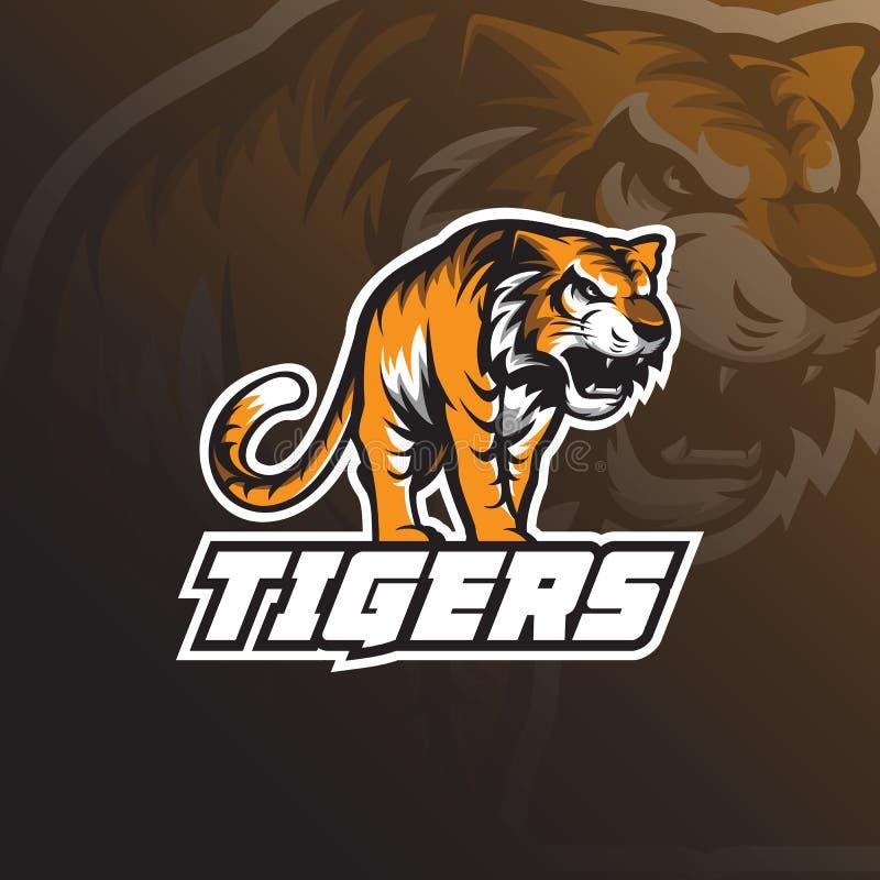 Vector del diseño del logotipo de la mascota del tigre de la bestia con concepto del emblema de la insignia ilustración del vector