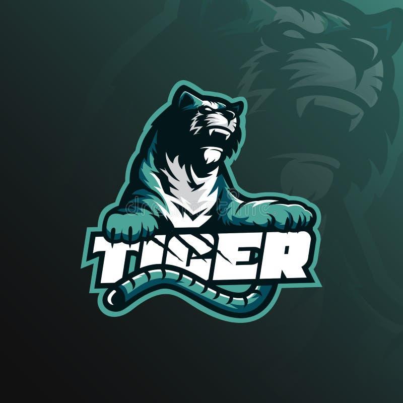 Vector del diseño del logotipo de la mascota del tigre con concepto moderno del ejemplo libre illustration