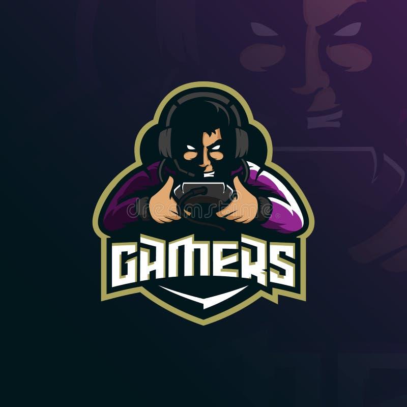 Vector del diseño del logotipo de la mascota del videojugador con el estilo moderno del concepto del ejemplo para la impresión de stock de ilustración