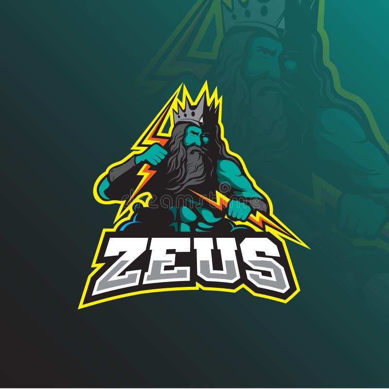 Vector del diseño del logotipo de la mascota de Zeus con el estilo moderno del concepto del ejemplo para la impresión de la insig libre illustration