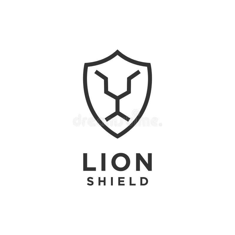 Vector del diseño del logotipo del escudo del león stock de ilustración