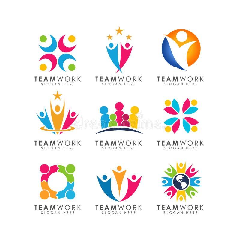 Vector del diseño del logotipo del trabajo en equipo diseño de organización del logotipo ilustración del vector