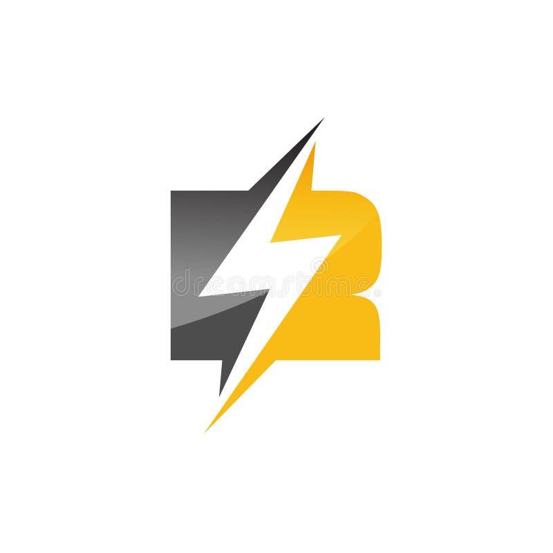 Vector del diseño del perno de la iluminación de la plantilla del logotipo de la letra inicial R ilustración del vector