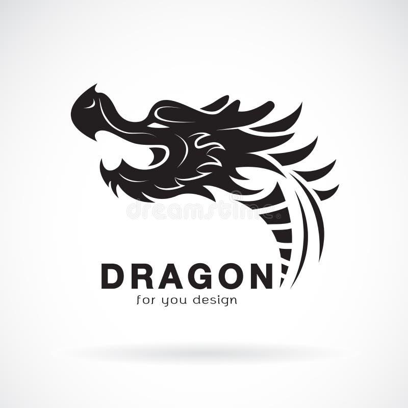 Vector del diseño principal del dragón en un fondo blanco Animales Logotipo o icono del dragón Ejemplo acodado editable f?cil del libre illustration