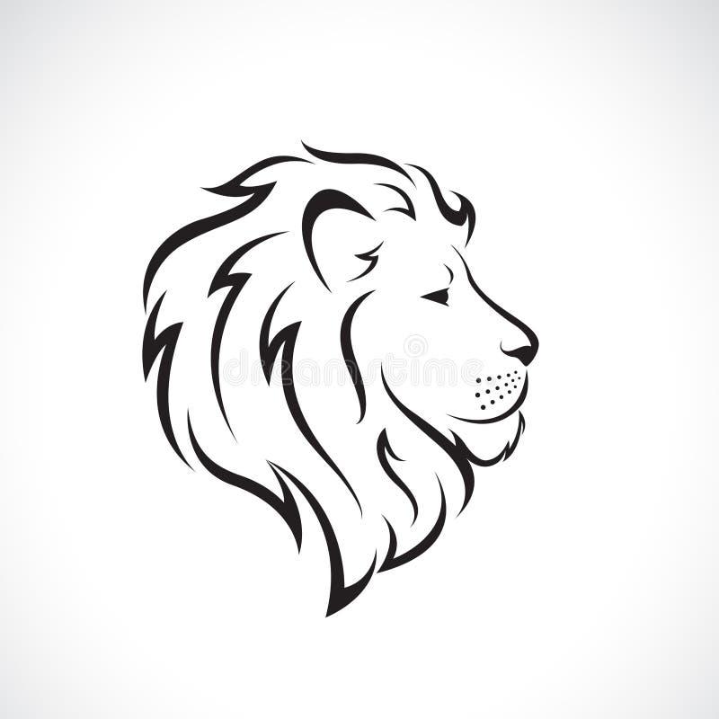 Vector del diseño principal del león masculino en un fondo blanco , Animales salvajes Ejemplo acodado editable fácil del vector stock de ilustración