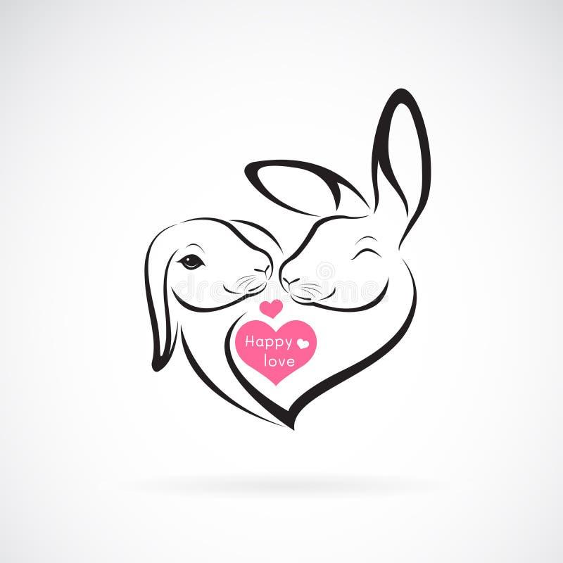 Vector del diseño y del corazón de la cabeza de dos conejos en el fondo blanco Animales salvajes Logotipo o icono del conejo Feli ilustración del vector