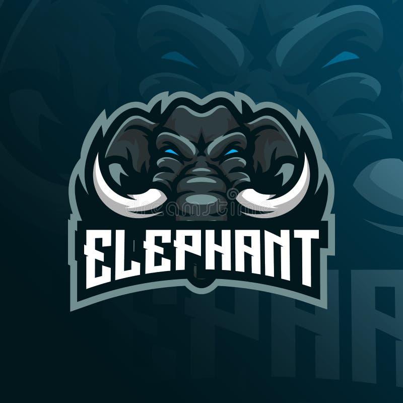 Vector del dise?o del logotipo de la mascota del elefante con el estilo moderno del concepto del ejemplo para la impresi?n de la  libre illustration