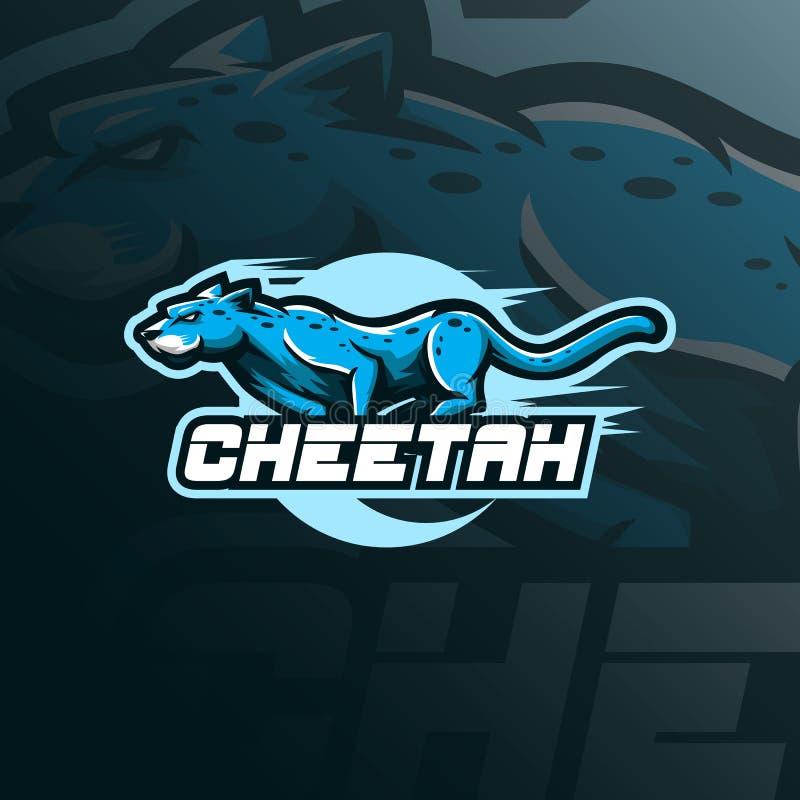 Vector del dise?o del logotipo de la mascota del guepardo con el estilo moderno del concepto del ejemplo para la impresi?n de la  libre illustration