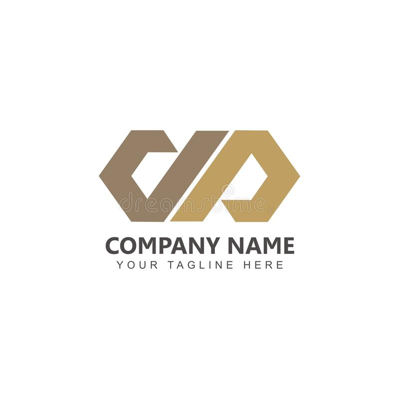 Vector del DP Logo Design Inspiration de la letra con color oro libre illustration