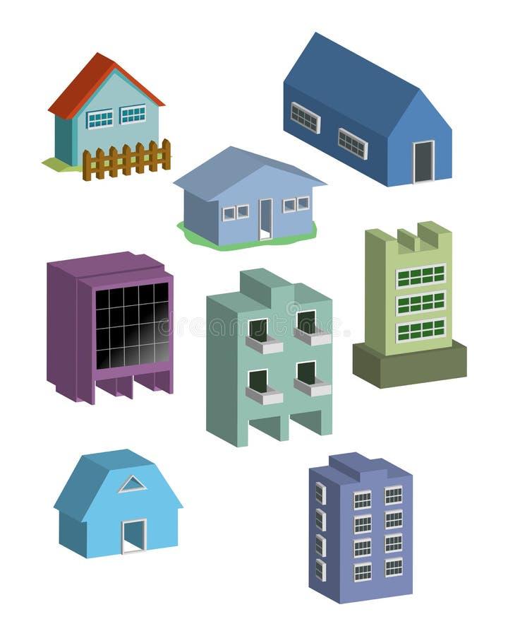 Vector del edificio y de las casas ilustración del vector