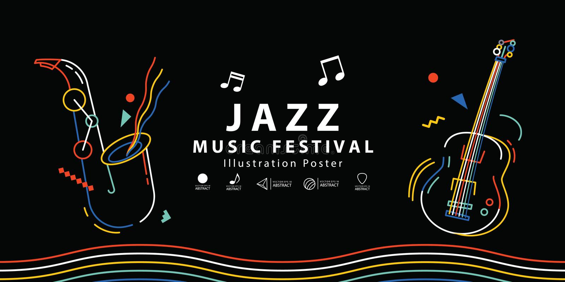 Vector del ejemplo del cartel de la bandera del festival de música de jazz Estafa de la música libre illustration