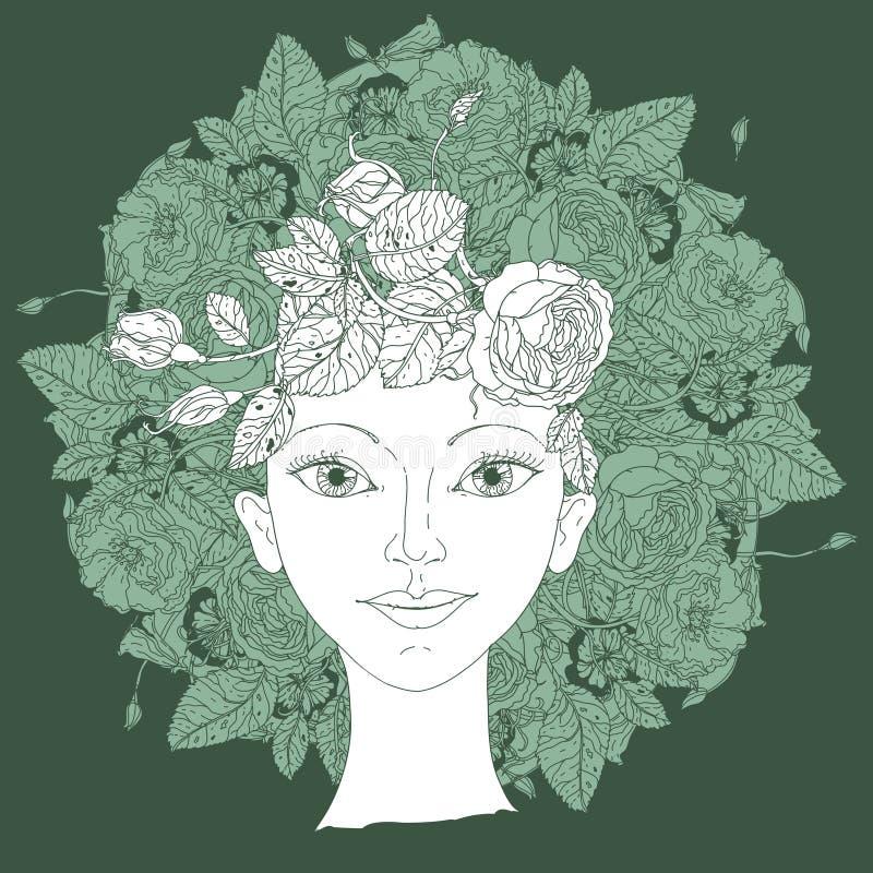 Vector del ejemplo de la belleza de la mujer stock de ilustración
