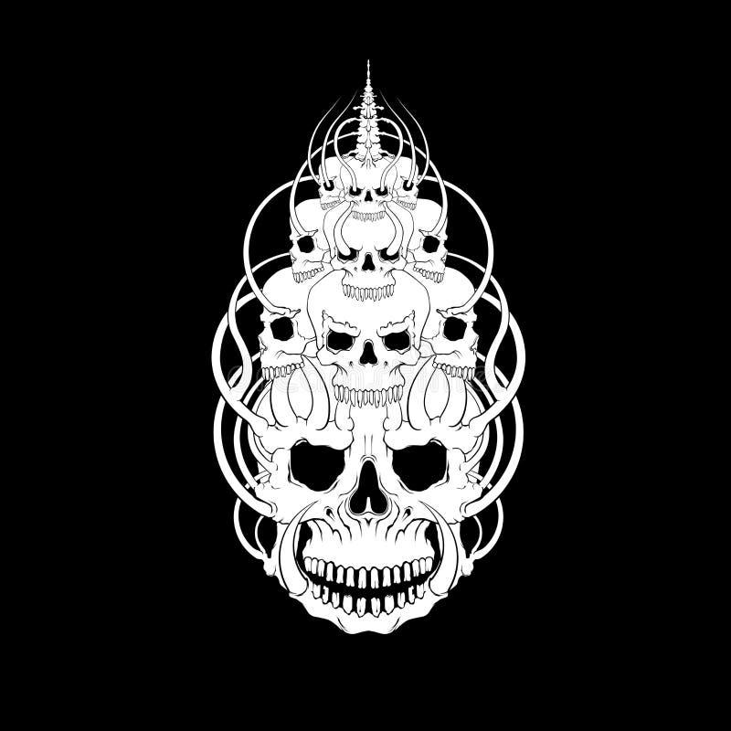 Vector del ejemplo de la cara del cráneo, misticismo, tatuaje Hecho a mano, pri imagen de archivo libre de regalías