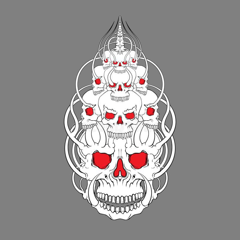 Vector del ejemplo de la cara del cráneo, misticismo, tatuaje Hecho a mano, pri fotografía de archivo libre de regalías