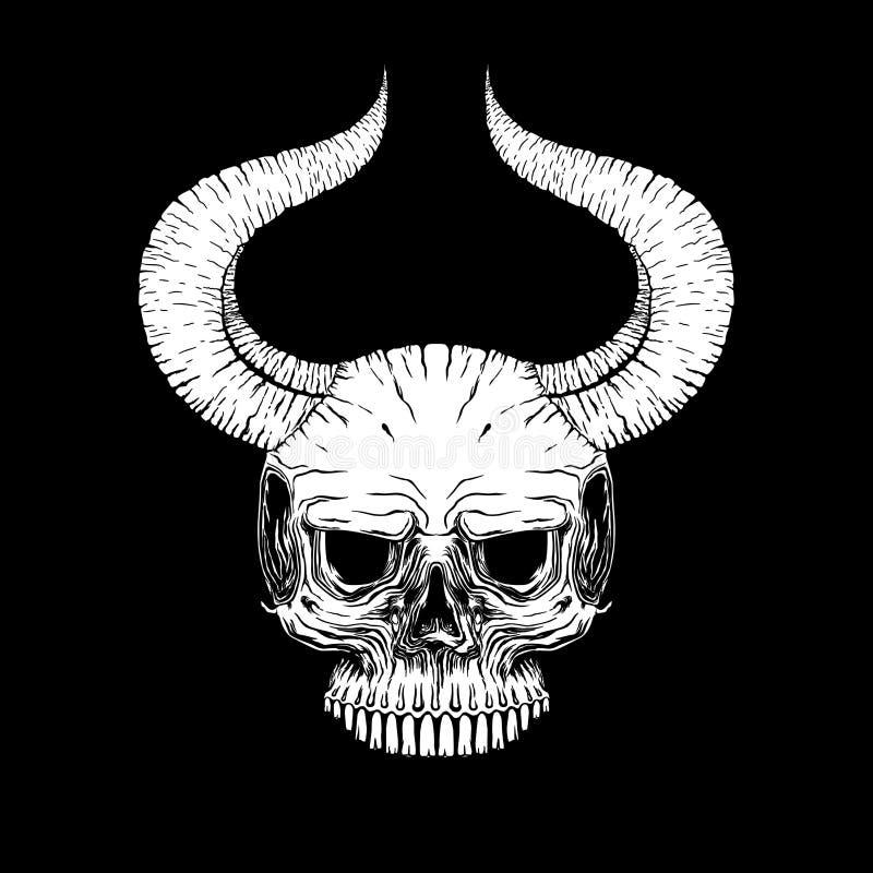 Vector del ejemplo de la cara del cuerno del cráneo, misticismo, tatuaje handmade ilustración del vector