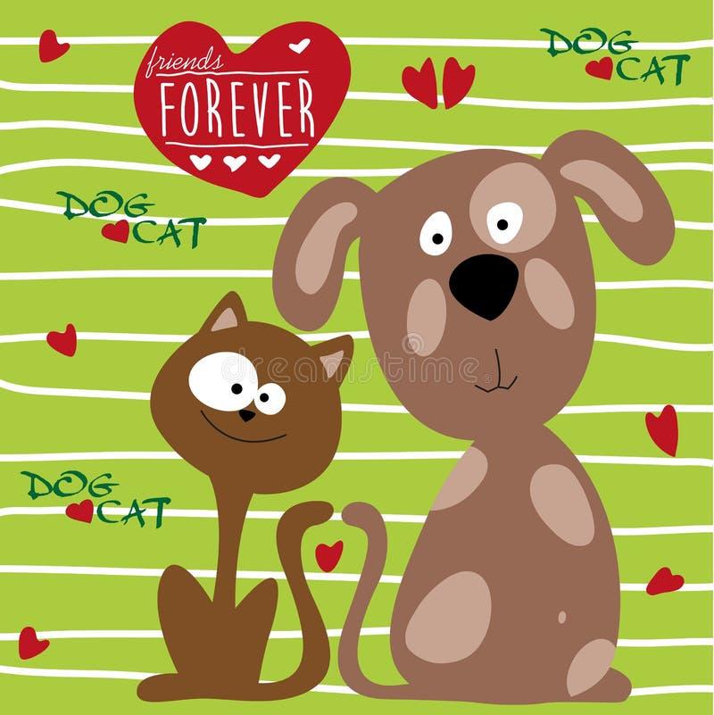 """Vector del ejemplo del †de la amistad del gato y del perro """" stock de ilustración"""