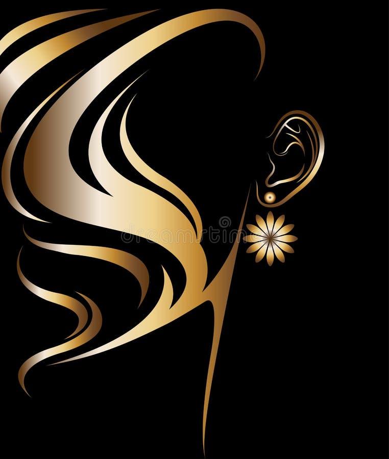 Vector del ejemplo del icono de oro de la silueta de las mujeres libre illustration