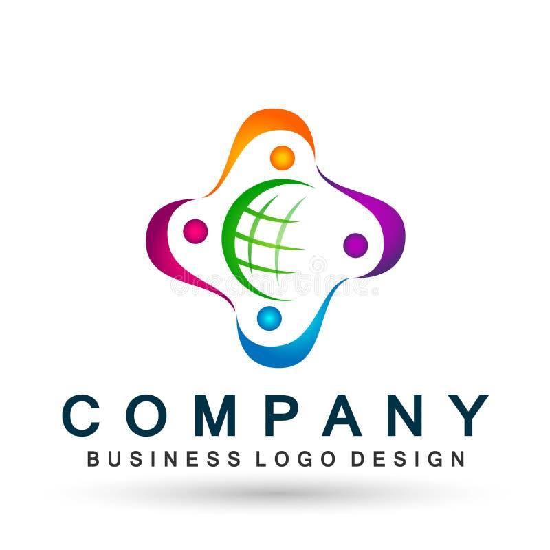 Vector del elemento del icono del logotipo del trabajo del equipo de la unión de la diversidad de la gente del mundo del globo en ilustración del vector